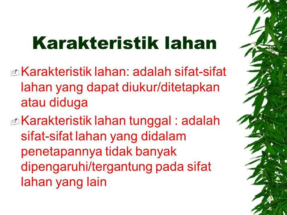 Karakteristik lahan Karakteristik lahan: adalah sifat-sifat lahan yang dapat diukur/ditetapkan atau diduga.