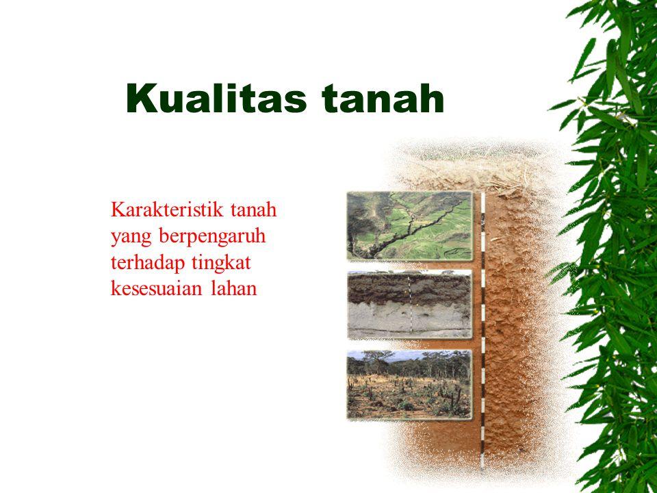 Kualitas tanah Karakteristik tanah yang berpengaruh terhadap tingkat