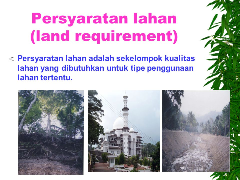 Persyaratan lahan (land requirement)