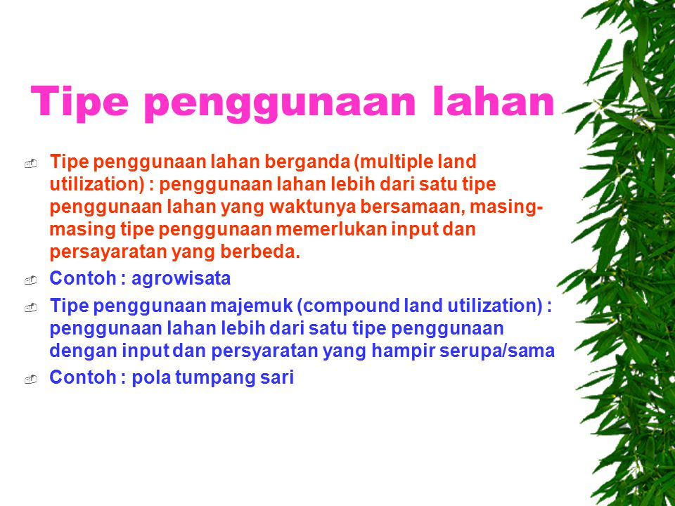Tipe penggunaan lahan