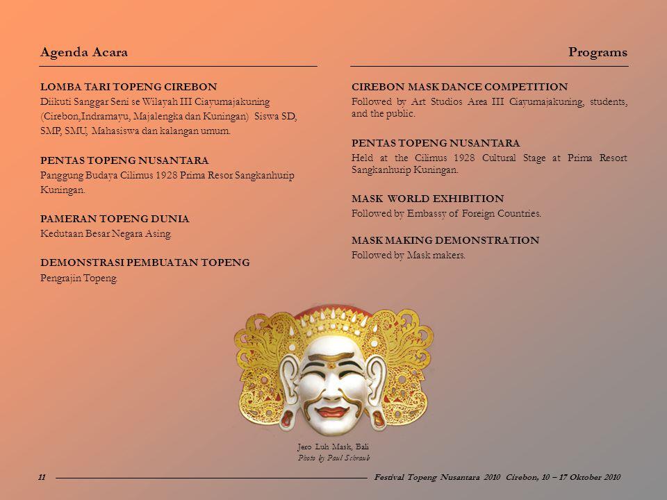 Agenda Acara Programs LOMBA TARI TOPENG CIREBON
