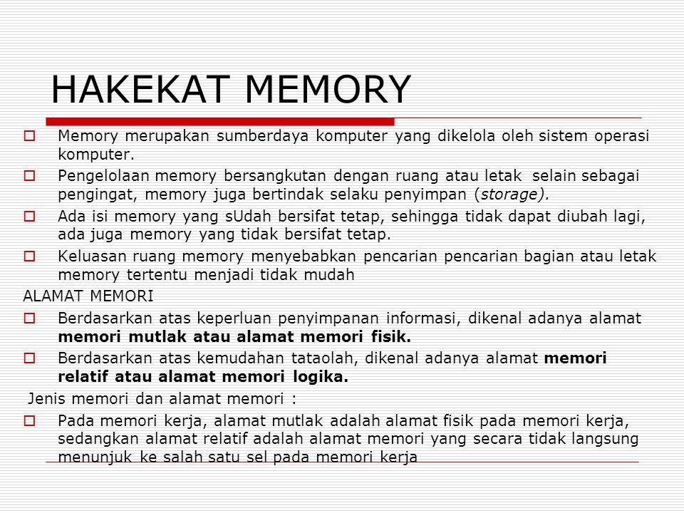 HAKEKAT MEMORY Memory merupakan sumberdaya komputer yang dikelola oleh sistem operasi komputer.