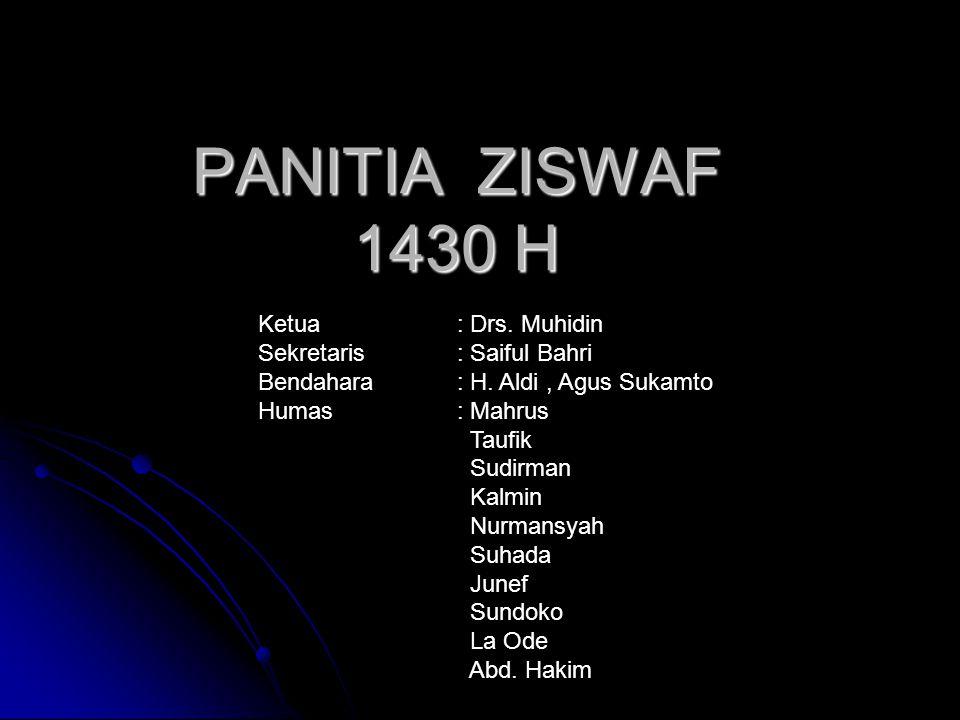 PANITIA ZISWAF 1430 H Ketua : Drs. Muhidin Sekretaris : Saiful Bahri