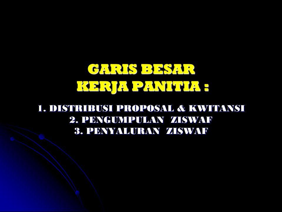 GARIS BESAR KERJA PANITIA : 1. DISTRIBUSI PROPOSAL & KWITANSI 2