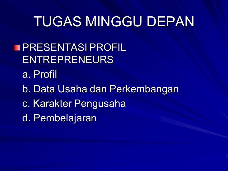 TUGAS MINGGU DEPAN PRESENTASI PROFIL ENTREPRENEURS a. Profil