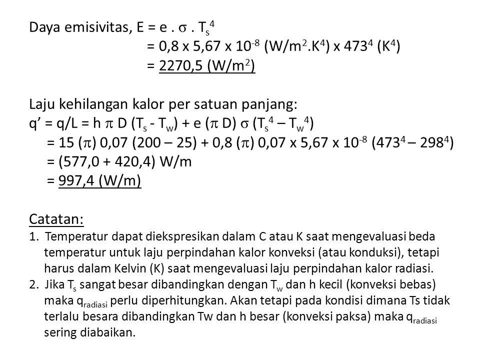 Daya emisivitas, E = e. σ. Ts4 = 0,8 x 5,67 x 10-8 (W/m2