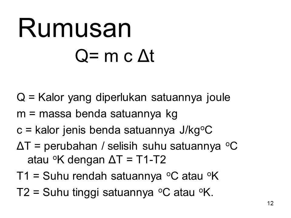 Rumusan Q= m c Δt Q = Kalor yang diperlukan satuannya joule