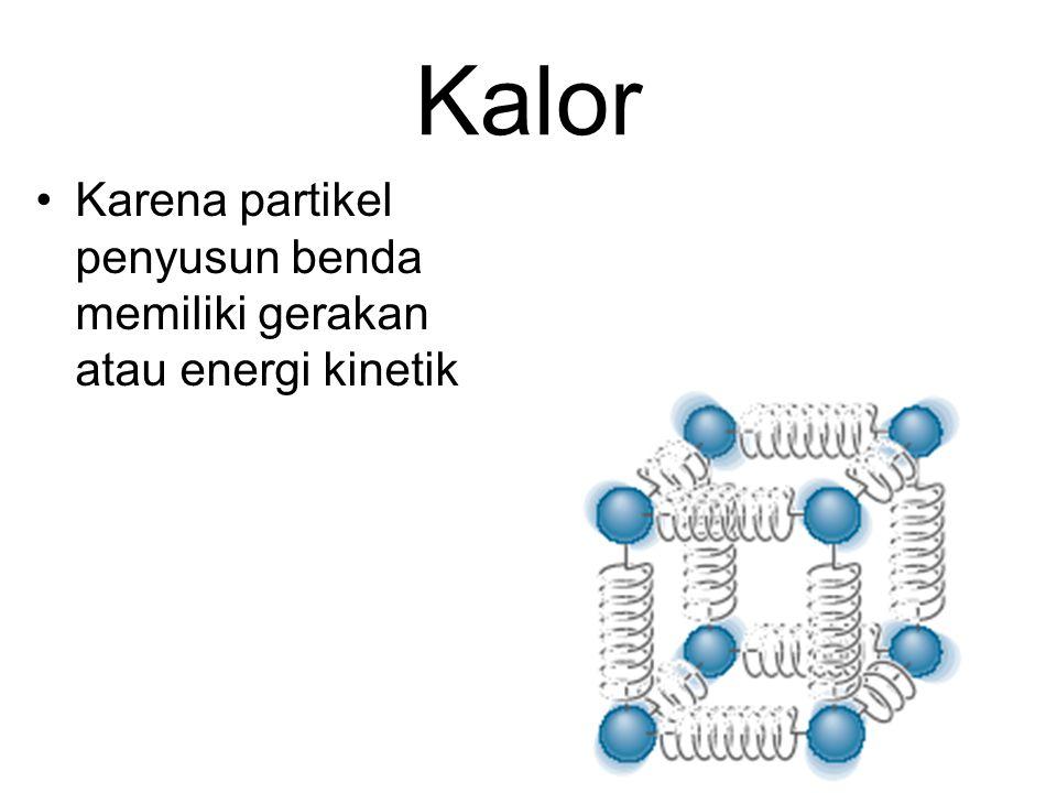 Kalor Karena partikel penyusun benda memiliki gerakan atau energi kinetik