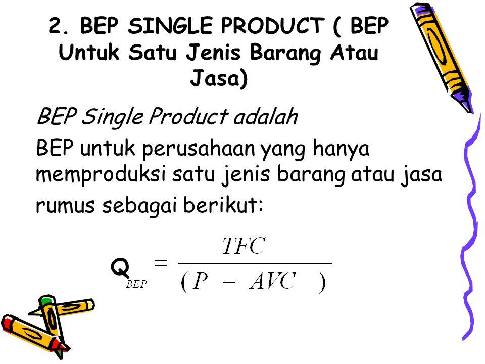 2. BEP SINGLE PRODUCT ( BEP Untuk Satu Jenis Barang Atau Jasa)