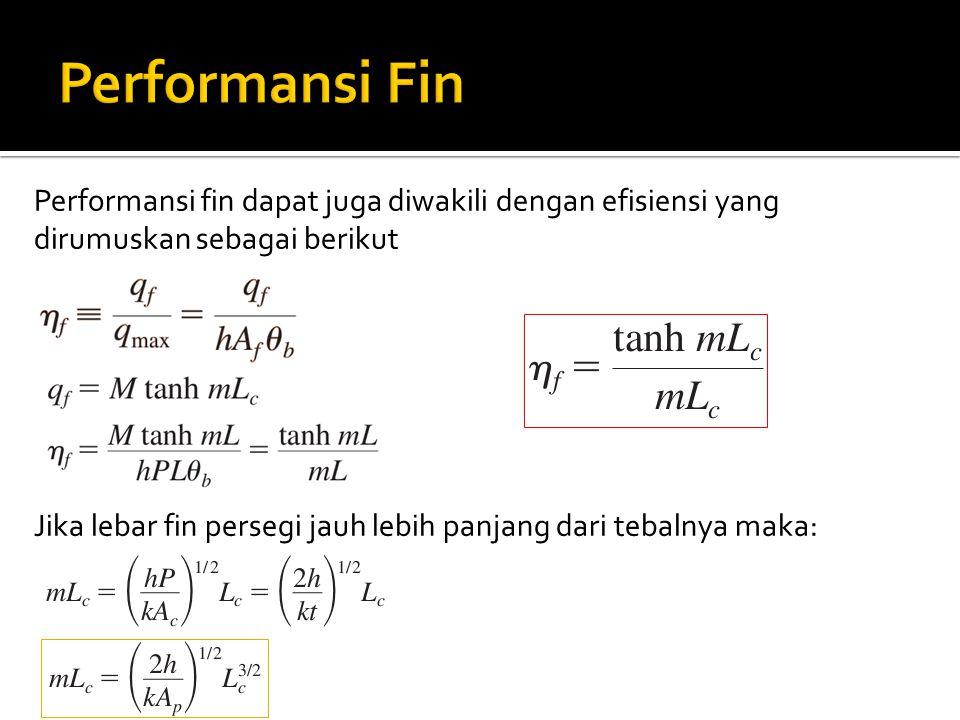 Performansi Fin Performansi fin dapat juga diwakili dengan efisiensi yang dirumuskan sebagai berikut.
