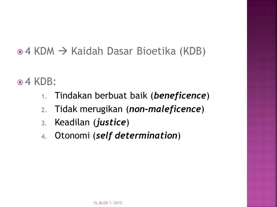 4 KDM  Kaidah Dasar Bioetika (KDB) 4 KDB:
