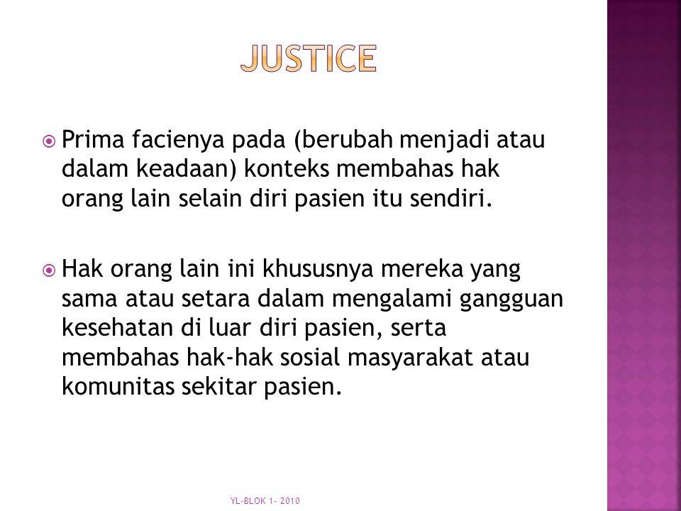 justice Prima facienya pada (berubah menjadi atau dalam keadaan) konteks membahas hak orang lain selain diri pasien itu sendiri.