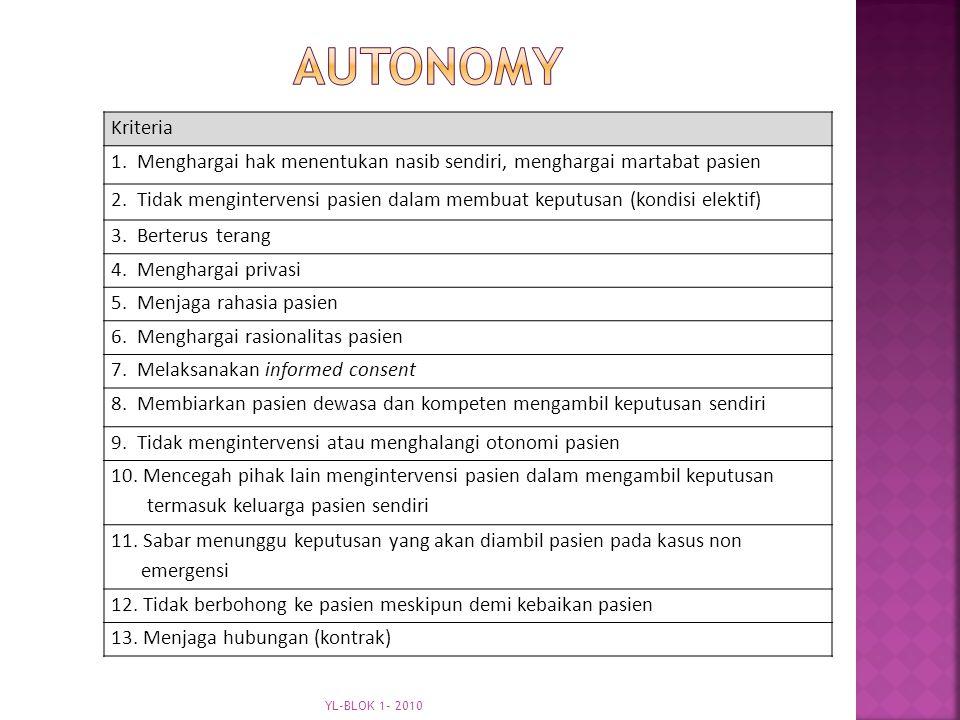 autonomy Kriteria. 1. Menghargai hak menentukan nasib sendiri, menghargai martabat pasien.