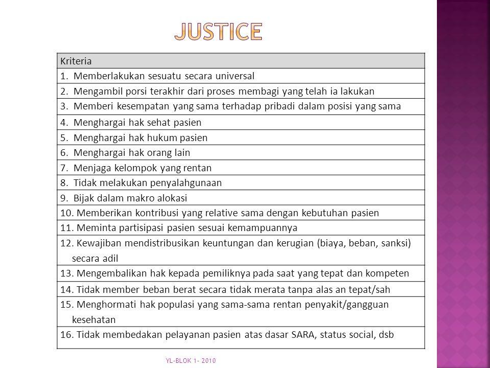 justice Kriteria 1. Memberlakukan sesuatu secara universal