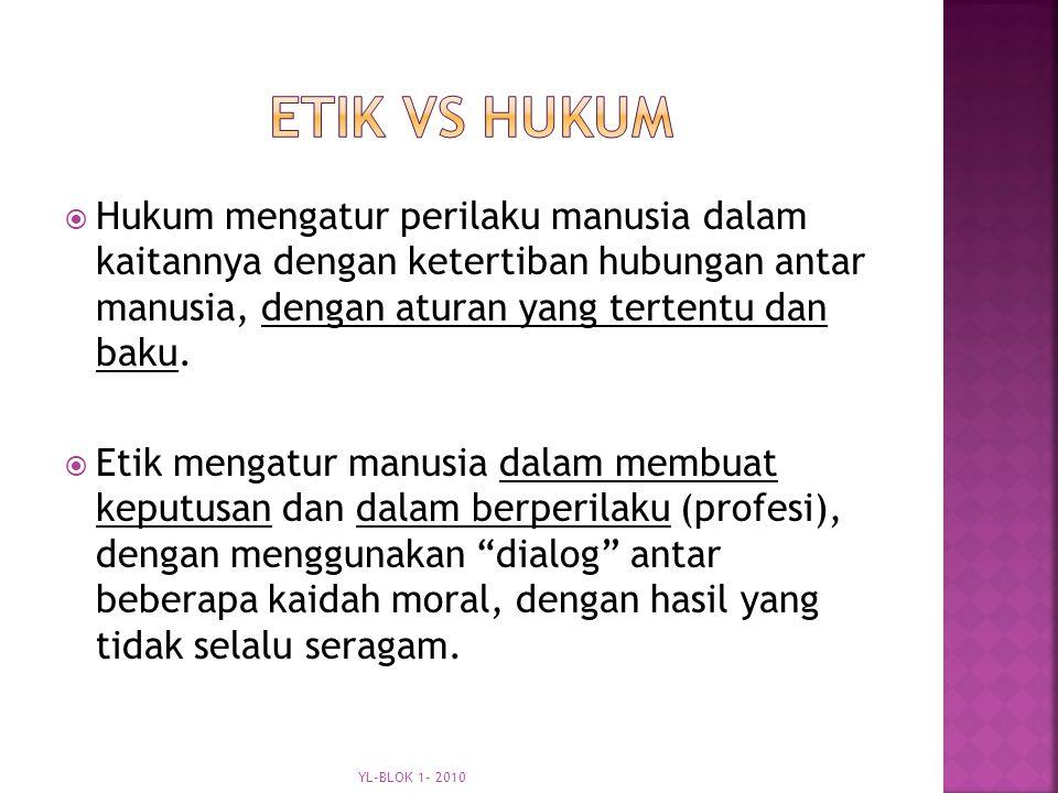 ETIK vs HUKUM Hukum mengatur perilaku manusia dalam kaitannya dengan ketertiban hubungan antar manusia, dengan aturan yang tertentu dan baku.