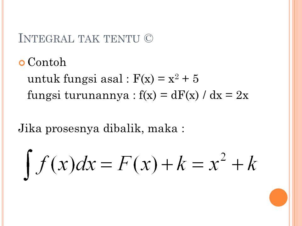 Integral tak tentu © Contoh untuk fungsi asal : F(x) = x2 + 5