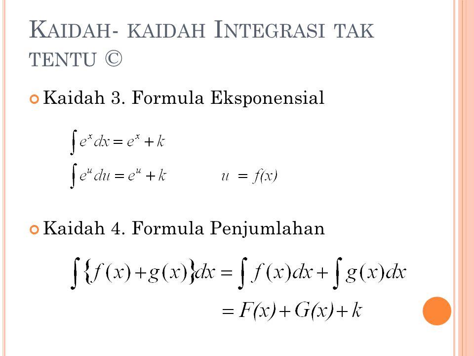 Kaidah- kaidah Integrasi tak tentu ©