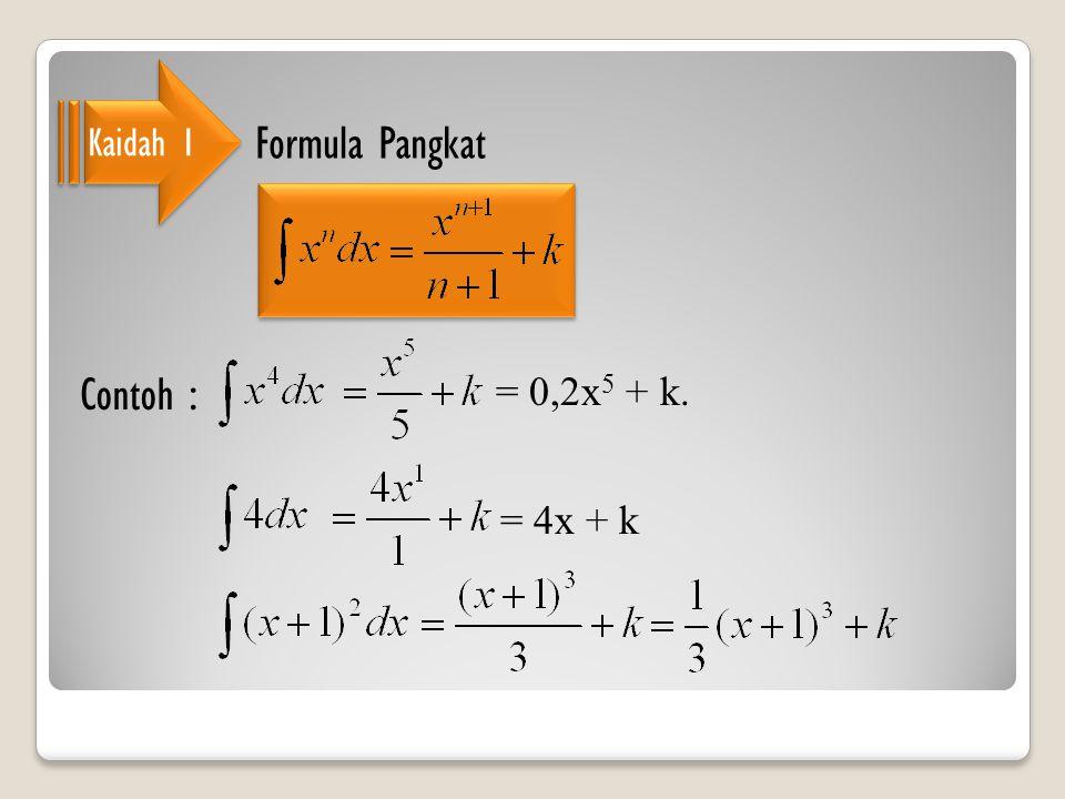 Kaidah 1 Formula Pangkat Contoh : = 0,2x5 + k. = 4x + k