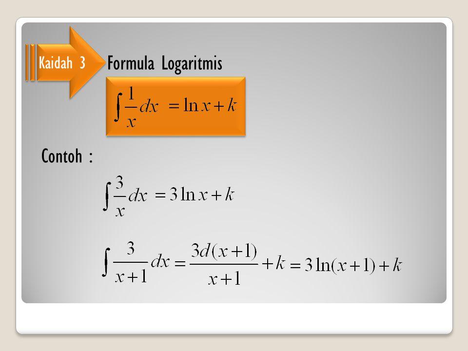 Kaidah 3 Formula Logaritmis Contoh :