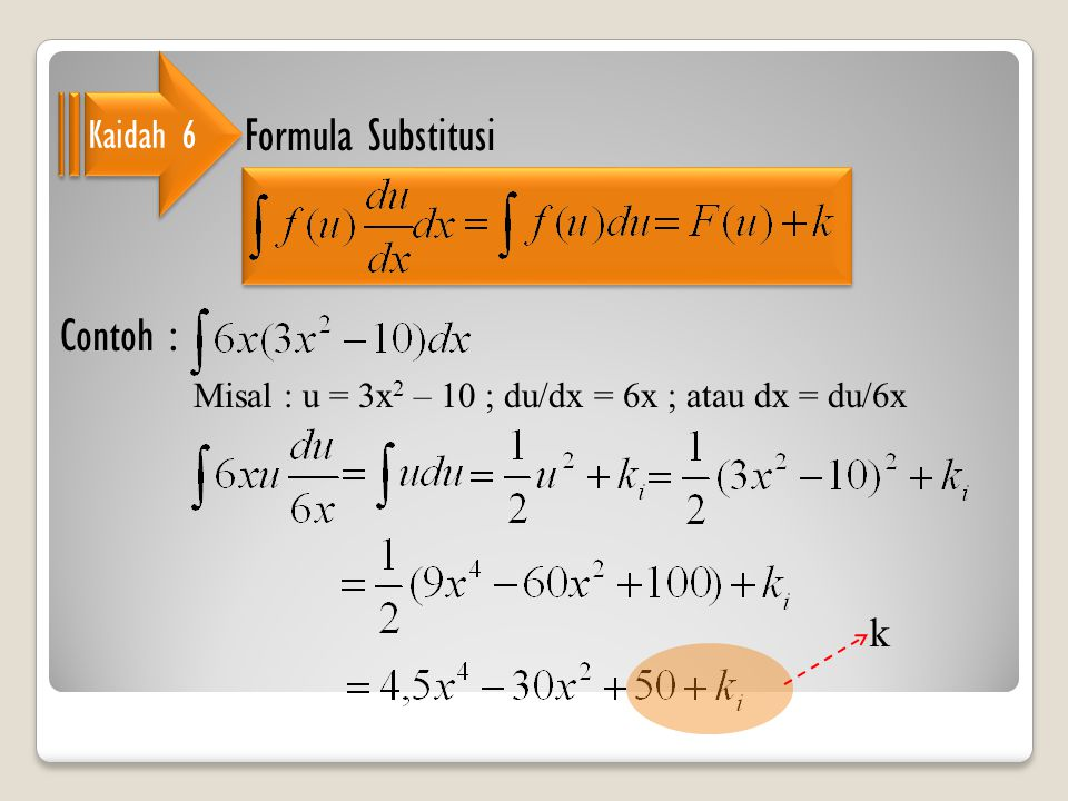 Formula Substitusi Contoh : Kaidah 6 k