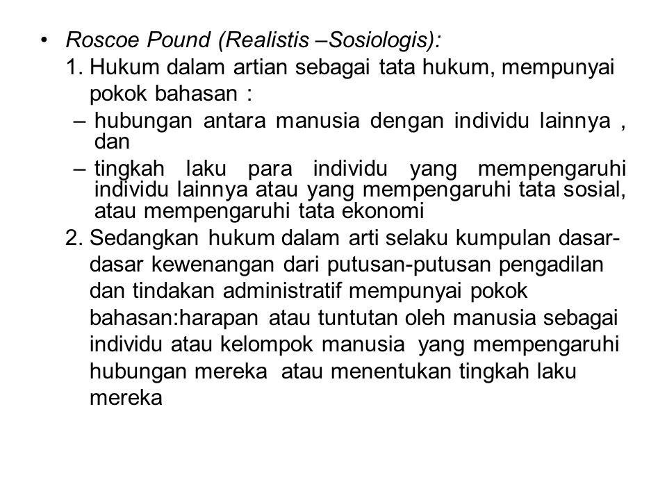 Roscoe Pound (Realistis –Sosiologis):