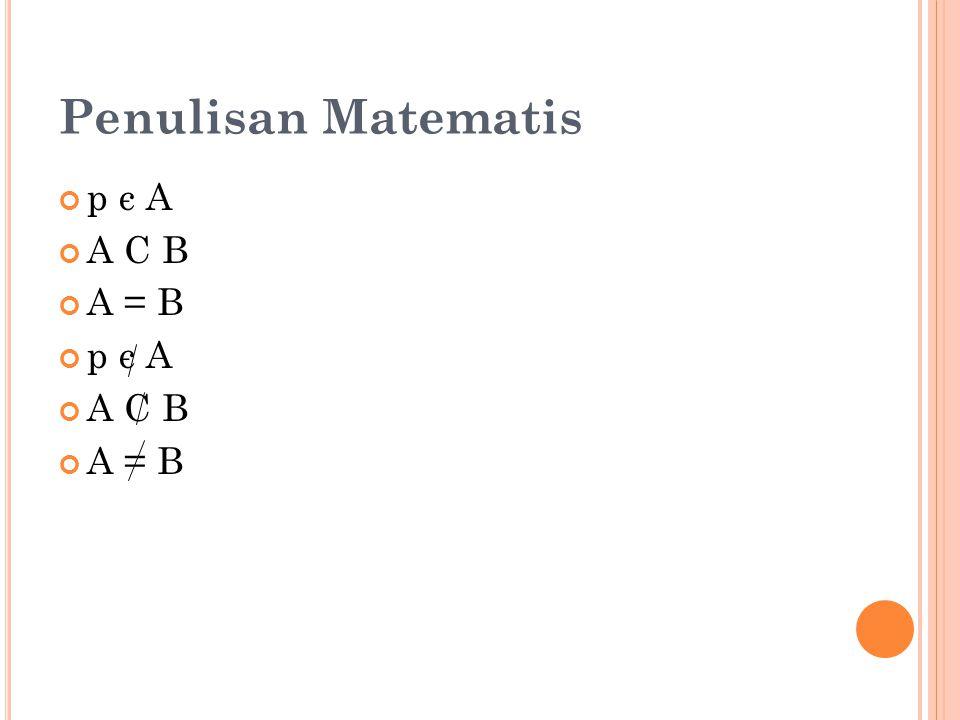 Penulisan Matematis p є A A C B A = B
