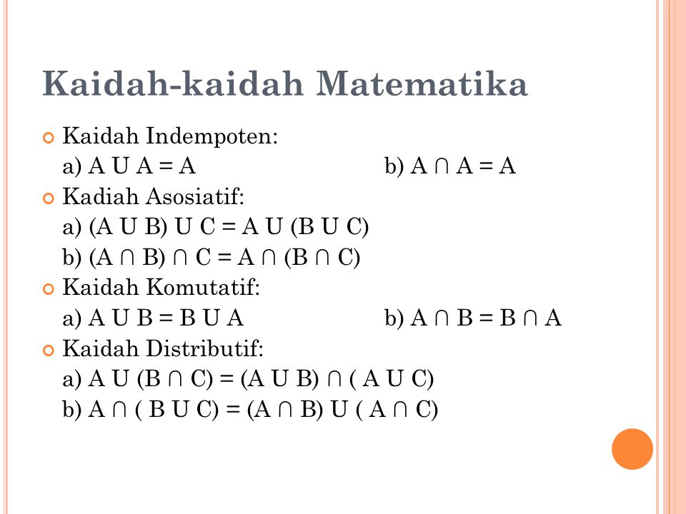 Kaidah-kaidah Matematika