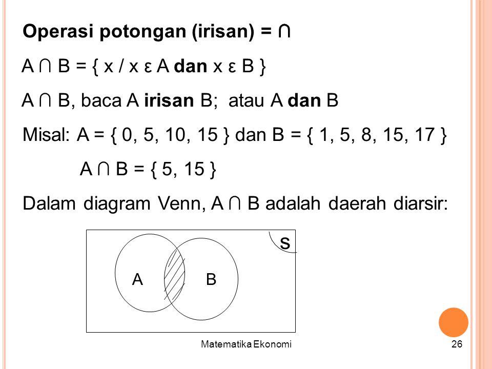 s Operasi potongan (irisan) = ∩ A ∩ B = { x / x ε A dan x ε B }