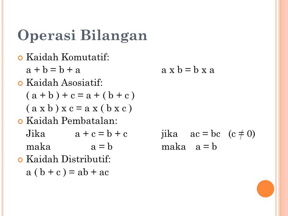 Operasi Bilangan Kaidah Komutatif: a + b = b + a a x b = b x a