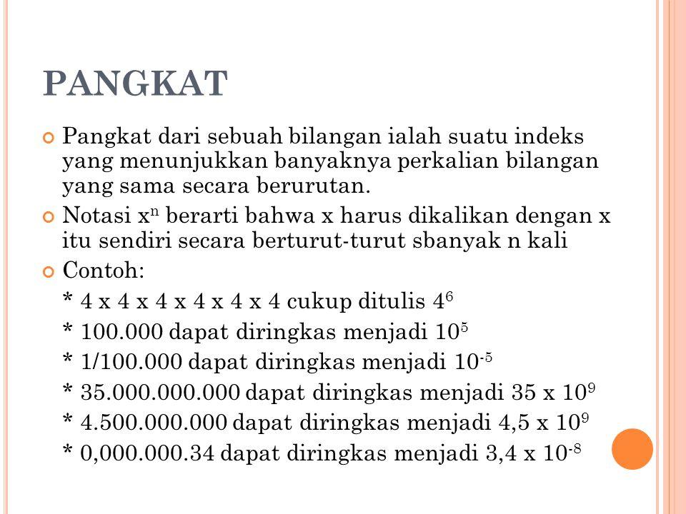 PANGKAT Pangkat dari sebuah bilangan ialah suatu indeks yang menunjukkan banyaknya perkalian bilangan yang sama secara berurutan.