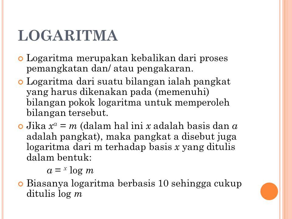LOGARITMA Logaritma merupakan kebalikan dari proses pemangkatan dan/ atau pengakaran.