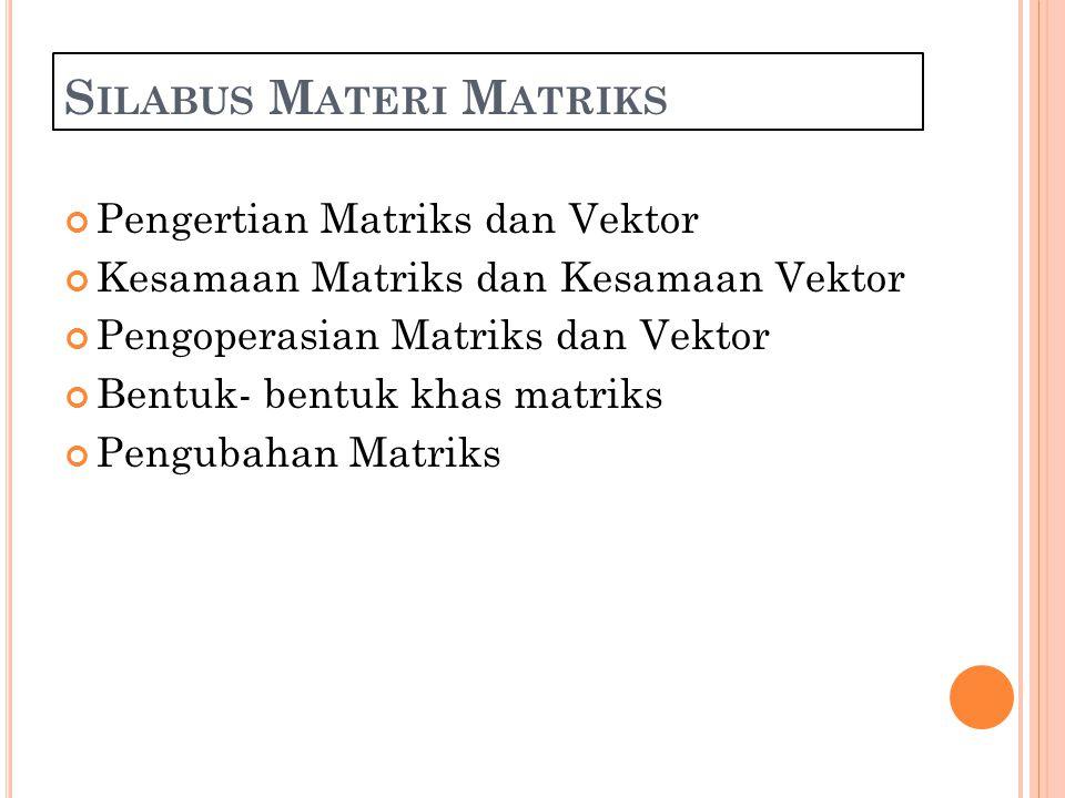 Silabus Materi Matriks