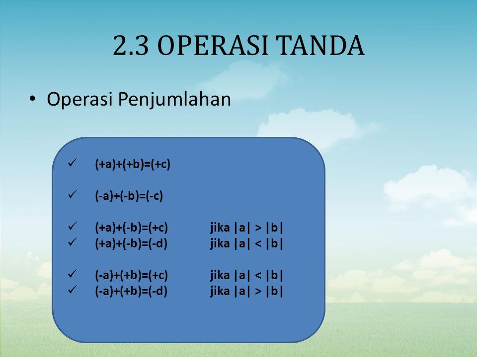 2.3 OPERASI TANDA Operasi Penjumlahan (+a)+(+b)=(+c) (-a)+(-b)=(-c)
