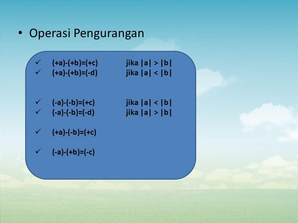 Operasi Pengurangan (+a)-(+b)=(+c) jika |a| > |b|
