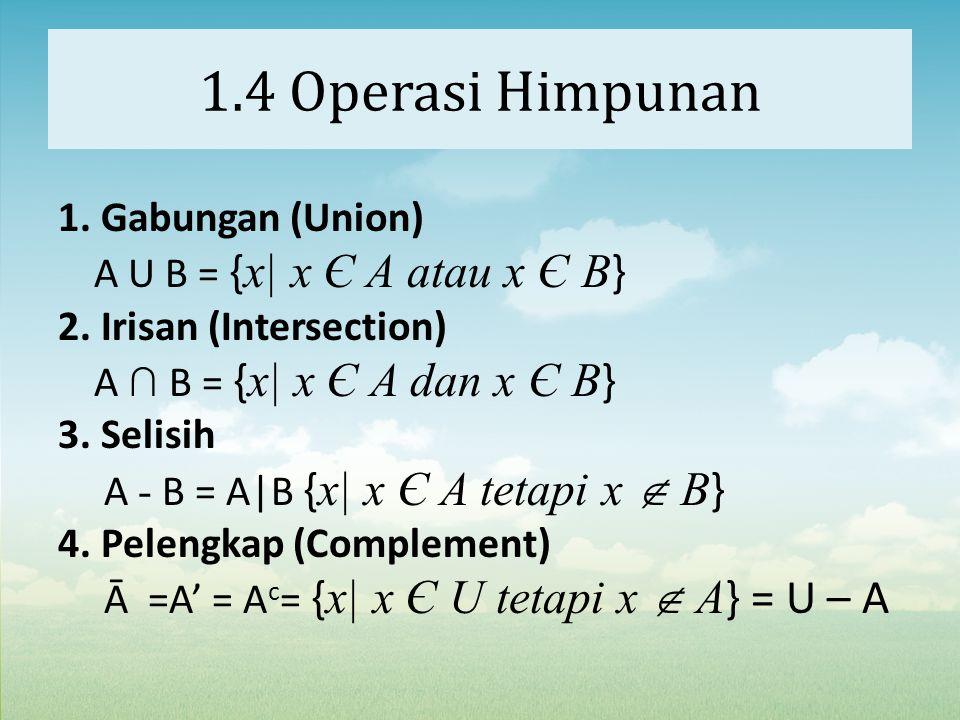 1.4 Operasi Himpunan