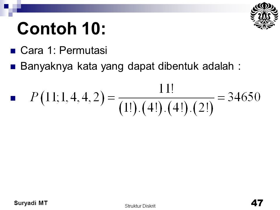 Contoh 10: Cara 1: Permutasi