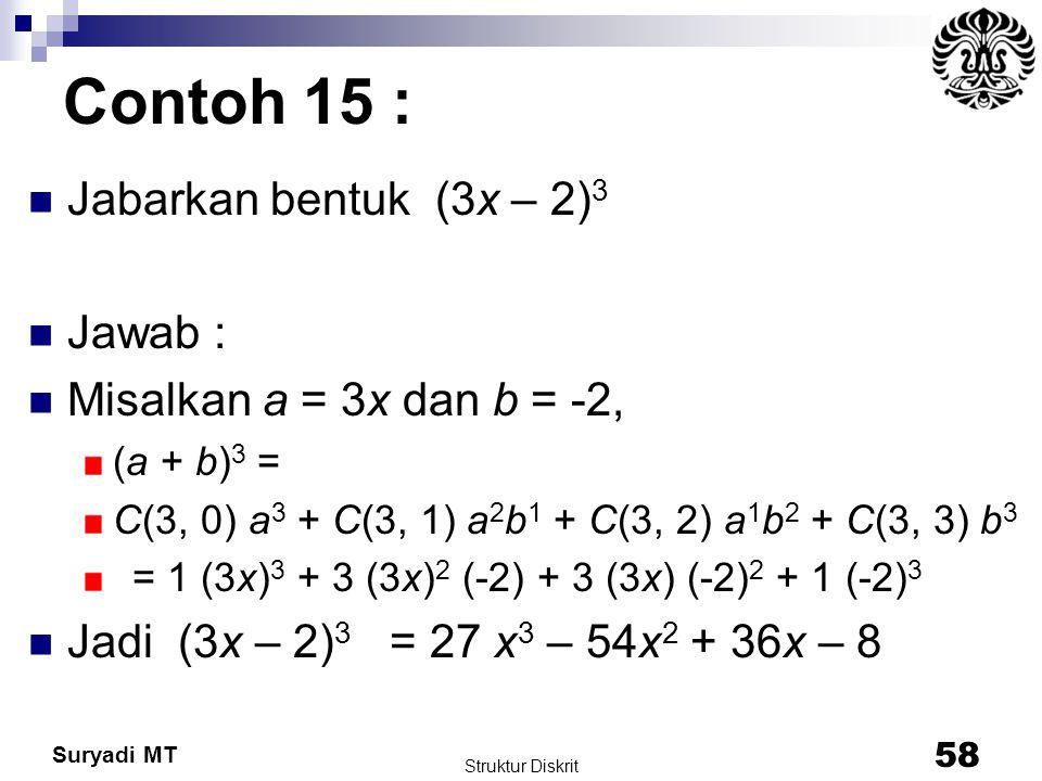 Contoh 15 : Jabarkan bentuk (3x – 2)3 Jawab :