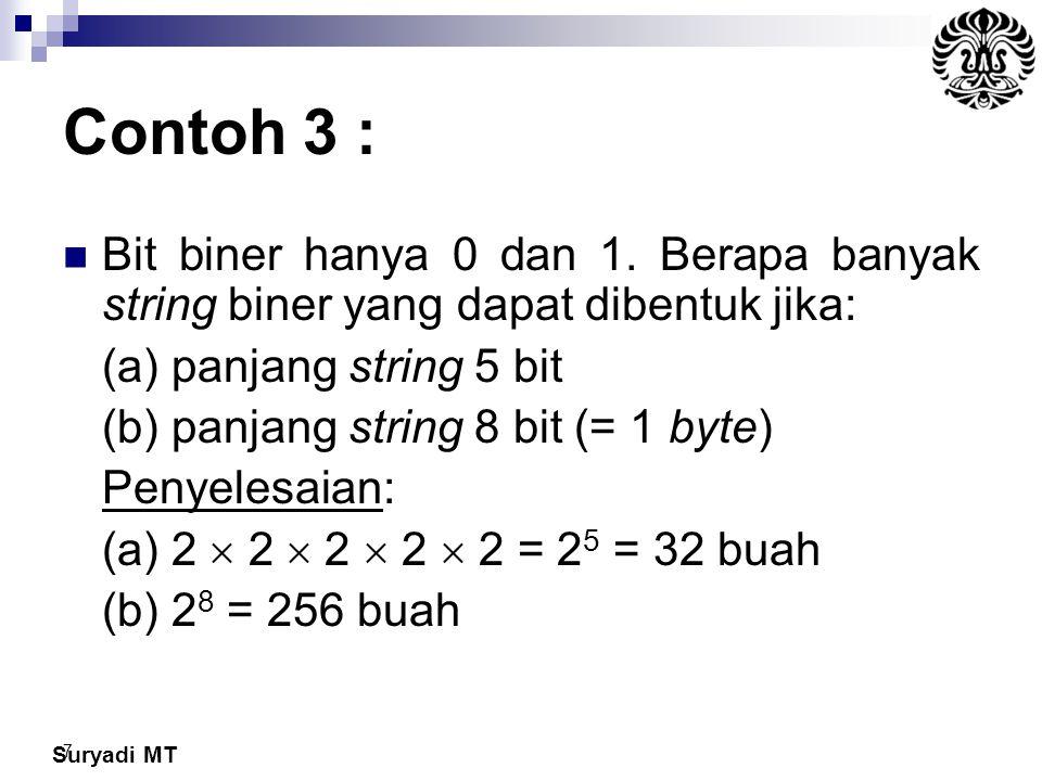 Contoh 3 : Bit biner hanya 0 dan 1. Berapa banyak string biner yang dapat dibentuk jika: (a) panjang string 5 bit.