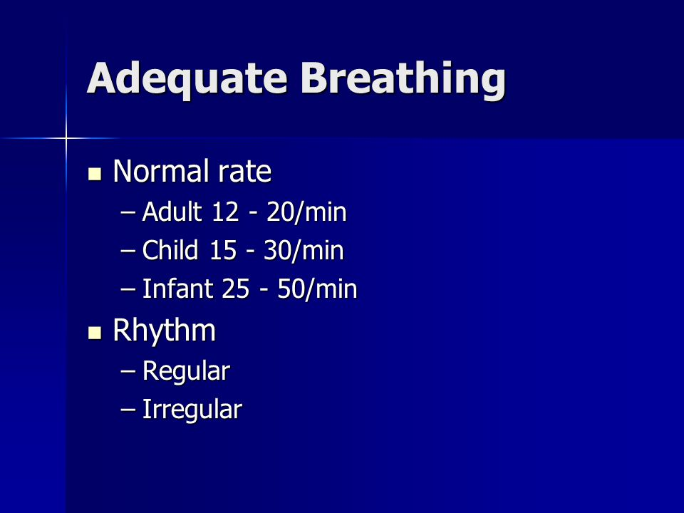 Adequate Breathing Normal rate Rhythm Adult 12 - 20/min