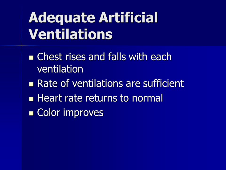 Adequate Artificial Ventilations