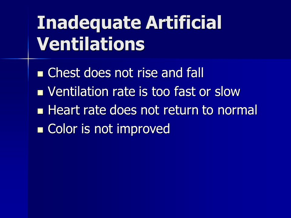 Inadequate Artificial Ventilations