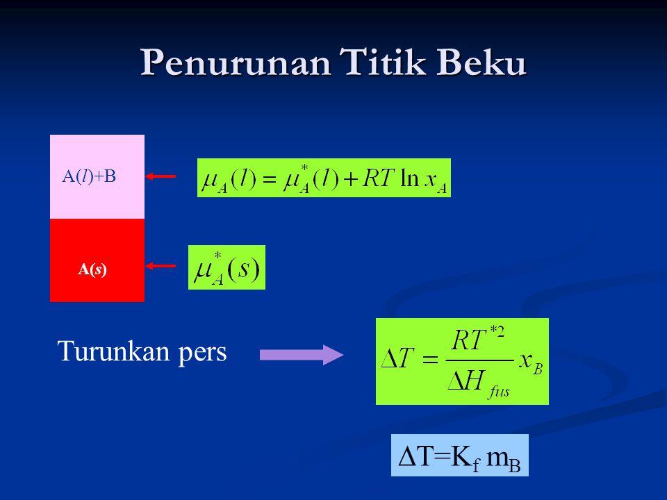 Penurunan Titik Beku A(l)+B A(s) Turunkan pers ∆T=Kf mB