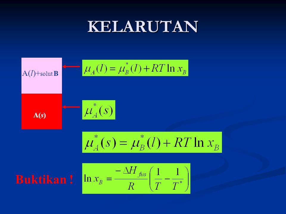 KELARUTAN A(l)+solut B A(s) Buktikan !