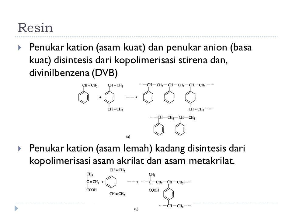 Resin Penukar kation (asam kuat) dan penukar anion (basa kuat) disintesis dari kopolimerisasi stirena dan, divinilbenzena (DVB)