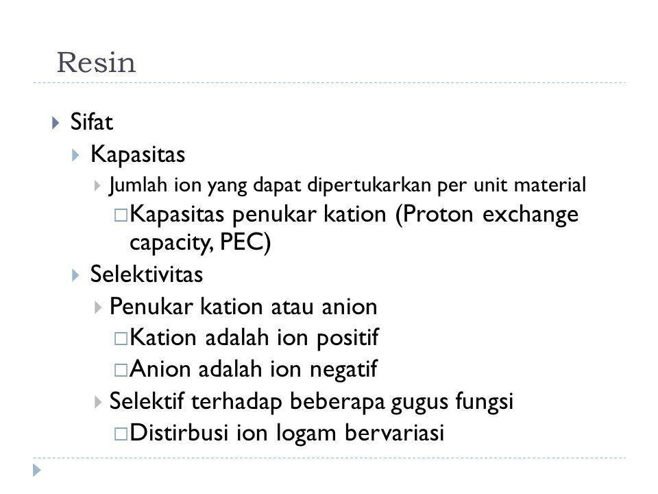 Resin Sifat. Kapasitas. Jumlah ion yang dapat dipertukarkan per unit material. Kapasitas penukar kation (Proton exchange capacity, PEC)
