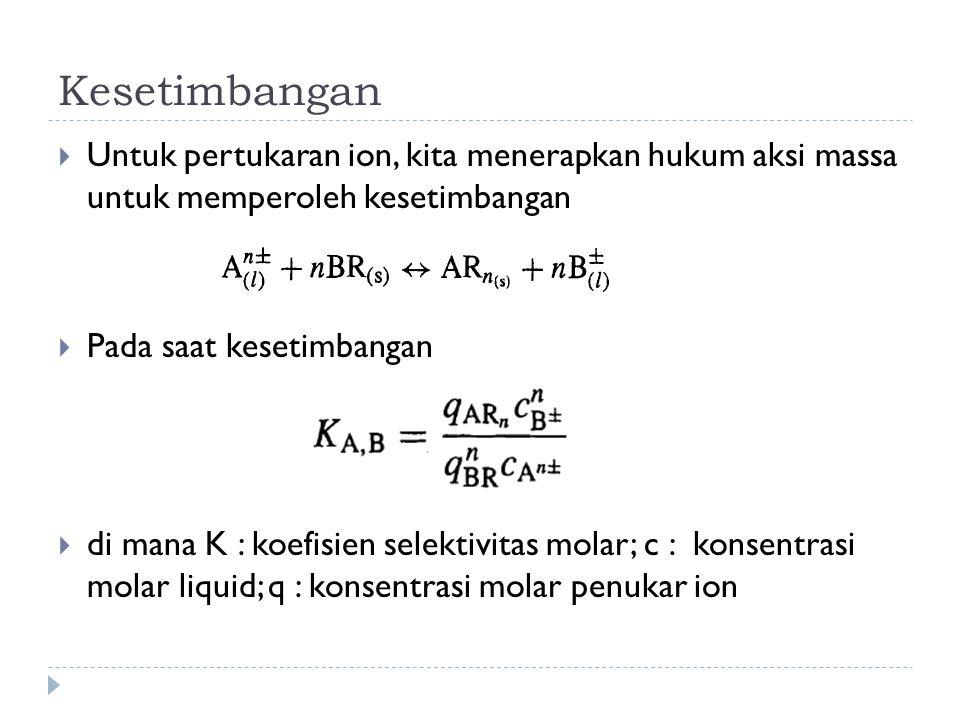 Kesetimbangan Untuk pertukaran ion, kita menerapkan hukum aksi massa untuk memperoleh kesetimbangan.