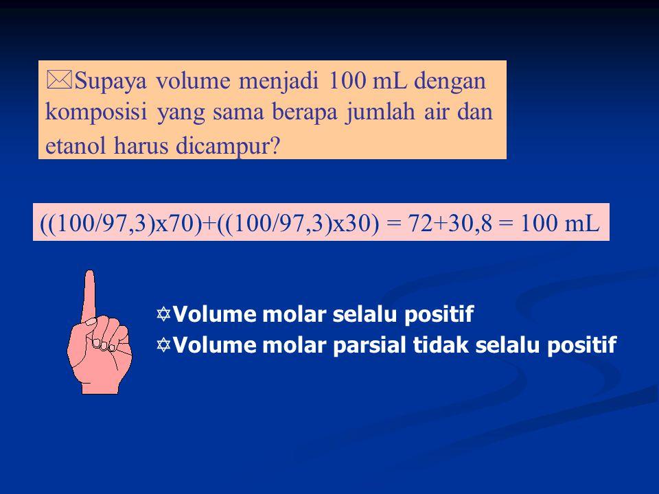 Supaya volume menjadi 100 mL dengan komposisi yang sama berapa jumlah air dan etanol harus dicampur