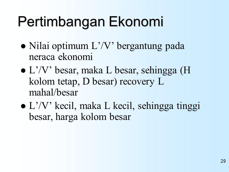 Pertimbangan Ekonomi Nilai optimum L'/V' bergantung pada neraca ekonomi.