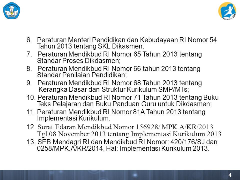 6. Peraturan Menteri Pendidikan dan Kebudayaan RI Nomor 54 Tahun 2013 tentang SKL Dikasmen; 7.