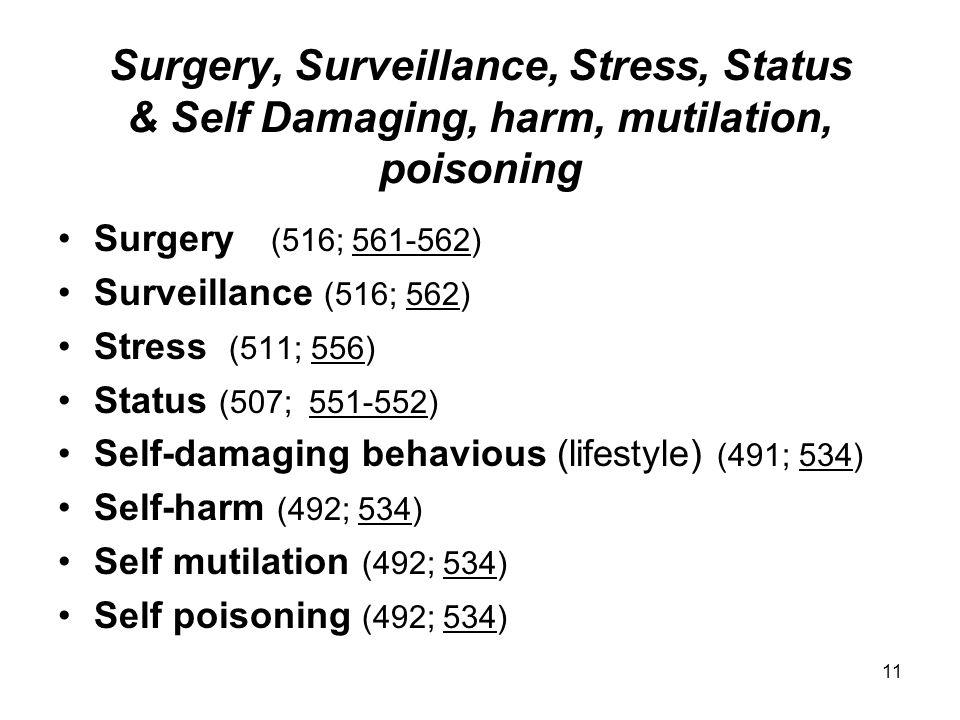 Surgery, Surveillance, Stress, Status & Self Damaging, harm, mutilation, poisoning